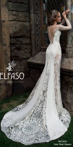 Mermaid Train Lace Wedding Dress Sexy Bridal Gown Illusion Back with Detachable Train Mariah 2