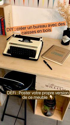 Diy Desk, Desk Organization, Diy Hacks, Typewriter, Home Deco, Home Office, Back To School, Writing, Upcycle