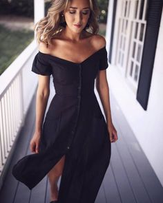 $170 Get Your LBD This Summer With This Off The Shoulder Bardot Top Style Button Up Detail Black Slit Reformation Dress Perfect For Every Occasion This Summer