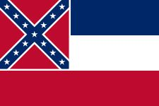The flag of the State of Mississippi was adopted by the U.S. state of Mississippi in 1894, replacing the flag that had been adopted in 1861.  It is the sole remaining U.S. state flag which bears the Confederate battle flag's saltire, after Georgia adopted a new flag in 2001.