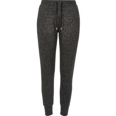 River Island Dark grey joggers ($33) ❤ liked on Polyvore featuring activewear, activewear pants, grey, joggers, pants, women, river island and tall activewear
