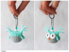 Mint Amigurumi Crochet Owl Keychain Keyring, Amigurumi Eule Schlüsselanhänger by Etilinki on Etsy