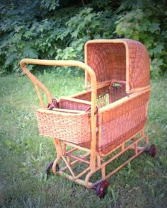 I LOVE this Wicker doll pram  made in England