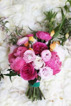 Beautiful arrangement with shades of pink. Photo by Feather and Twine Photography.  www.wedsociety.com  #wedding #bouquet
