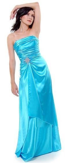 Long Strapless Aqua Bridesmaid Dress Prom Satin Rhinestone Pleated Bodice $99.99
