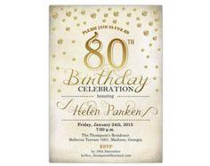 80th Birthday Invitation / 30th 40th 60th 70th 80th 90th / Any Age / Gold / Printable Invitation / Customized
