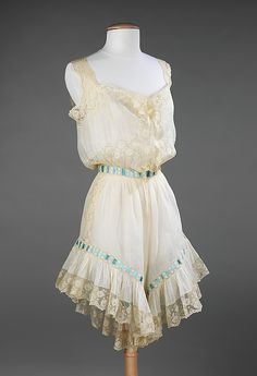 """Undergarment Set (Corset cover with Drawers) 1900, American, Made of silk and linen"" - Gorgeous!"