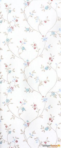 Wallpaper Rasch Blooming Garden satin wallpaper 001176 flowers cream brown Wallpapers Rasch Textil Blooming Garden