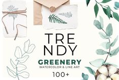 Trendy Greenery: Watercolor & Line Art Collection by Lana Elanor Pencil Illustration, Watercolor Illustration, Art Illustrations, Business Brochure, Business Card Logo, Have A Nice Life, Texture Web, Design Typography, Photoshop