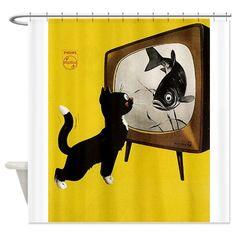 Black Cat looking at Fish Vintage Retro Poster Photo Vintage, Art Vintage, Vintage Humor, Vintage Ads, Vintage Black, Vintage Graphic, Graphic Art, Retro Poster, Poster Vintage