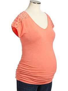 Not sure which color I like best! Maternity Eyelet-Sleeve Tees