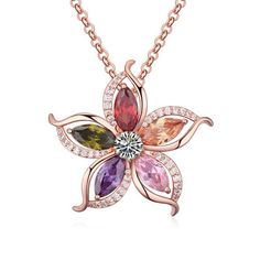 Gift Fine Costume Jewelry AAA Zircon Crystal India Jasmine Flowers Pendants Accessories Gold Chokers Sweater Necklaces For Women Heart Jewelry, Cute Jewelry, Gemstone Jewelry, Jewelry Gifts, Jewelery, Jewelry Necklaces, Metal Jewelry, Gold Jewelry, Crystal Necklace