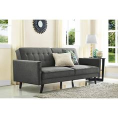 Better Homes and Gardens Rowan Linen Futon, Grey cute option for attic or first apt lays flat for bed...mdb