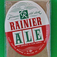 "One Vintage (1956) ""Rainier Famous Old Stock"" Oval 12-Ounce Beer Label"