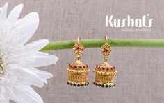 from Design No 50057 Gold Jhumka Earrings, Jewelry Design Earrings, Gold Earrings Designs, Antique Earrings, Shell Earrings, Gold Bangles Design, Gold Jewellery Design, Fancy Jewellery, Gold Jewelry Simple