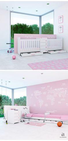 cunas en cama para bebs gemelos en color rosa diseada para nias
