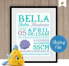 The Little Mermaid themed Baby Girl Keepsake  by PaperBeeDesigns, $16.00