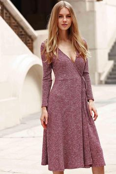 Pure Color Plunging Neck Long Sleeve Midi Dress BROWN: Long Sleeve Dresses…