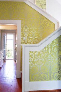 fun yellow metallic wallpaper (by Megan Buchanan)
