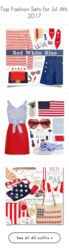 """Top Fashion Sets for Jul 4th, 2017"" by polyvore ❤ liked on Polyvore featuring J.Crew, CO, Sergio Rossi, Mulberry, BCBGeneration, Preen, Rodin, Summer, holiday and fourthofjuly"