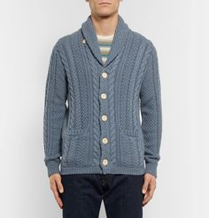 Inspired by traditional fisherman sweaters, this <a href='http://www.mrporter.com/mens/Designers/JCrew'>J.Crew</a> cable-knit cardigan is a rustic choice for breezy days. It's crafted from robust cotton, has a shawl collar and patch pockets and fastens with chunky wooden buttons. The light-blue hue will pair effortlessly with denim or tan chinos.