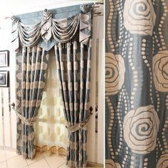 Green Camellia Curtain Set With Swags And Jabots Fabulous