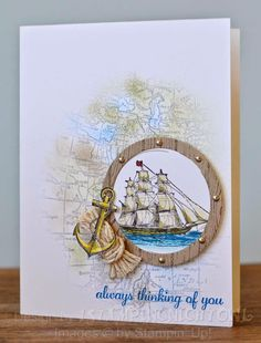 masculine thinking of you card... sea theme... love the rope knot and anchor