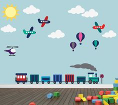 Airplanes Hot Air Balloons Trains Clouds Wall Decal REUSABLE Wall Decal Sticker on Etsy, $105.00