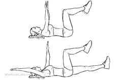 Dead Bug      Lie on your back. Extend hands straight above towards the ceiling. Bring your knees up to a 90-degree angle. Shins should be parallel to the floor. Exhale and bring hips off the floor.     Begin by extending one leg forward. The foot should be hovering just above the ground.     Pause then return the leg to it's starting position while extending the opposing leg. Keep alternating legs while maintaining a tight core.