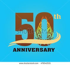 Anniversary logo with javanese shadow puppet pattern 50th