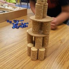 Cork towers-I have a huge box of these in the closet.add to block play! Reggio Emilia, Motor Activities, Activities For Kids, Emergent Curriculum, Block Area, Block Play, Montessori Practical Life, Creative Curriculum, Montessori Toddler