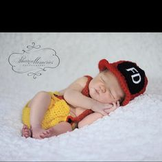 Baby fire fighter photo idea. Outfit from Etsy