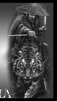 Samurai Tattoo Sleeve, Samurai Warrior Tattoo, Warrior Tattoos, Samurai Art, Japanese Tattoo Art, Japanese Tattoo Designs, Japanese Art, Japan Tattoo Design, Tiger Tattoo Design