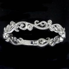 DIAMOND ART DECO 14K WEDDING BAND FILIGREE FLORAL VINTAGE RETRO WHITE GOLD RING