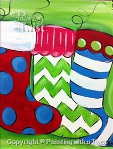 Funky Stockings **Family Class** - Bentonville, AR Painting Class - Painting with a Twist