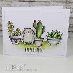 Mit Herz und Schere: Katzen & Kakteen - Geburtstagskarte