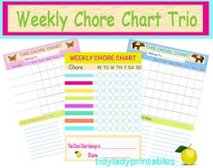 Digital Download - Chore Chart - Organized Mom Printables - Home Binder - 3 Documents