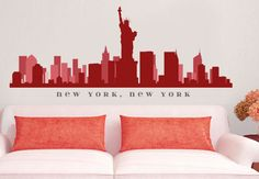 NEW YORK NY Skyline Wall Decal Art vinyle amovible Peel n tenir vers le haut à 70 « x 18 » salon bureau Business décor ville by AmericanDecals on Etsy