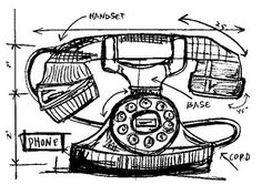 Tim Holtz Rubber Stamp PHONE SKETCH Stampers Anonymous P1-2091