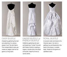 Types of bustles Wedding Gown Bustle, Wedding Dress Train, Bridal Wedding Dresses, Wedding Bridesmaids, Bustle Dress, Wedding Attire, Wedding Bells, Types Of Wedding Gowns, Tea Length Bridesmaid Dresses