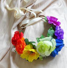 Rainbow Flower Crown Floral Crown Floral Headpiece Hair