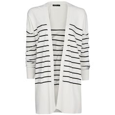Mango Monochrome Striped Cardigan ($22) ❤ liked on Polyvore featuring tops, cardigans, jackets, outerwear, sweaters, natural white, short-sleeve cardigan, mango tops, striped long sleeve top and drop shoulder tops