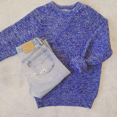 90's sweater + 501's #vintage