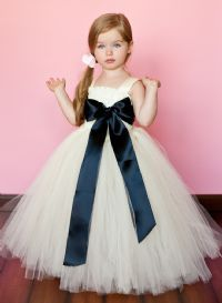 Simply Elegant Dresses - Ivory with Custom Sash - Girls and Boys Wedding Attire : Flower Girl Tutu Dresses : Accessories, dresses, tutus, ring pillows, tux, skirts, and Hats