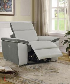 AURA TOP GRAIN LIGHT GREY LEATHER POWER RECLINER