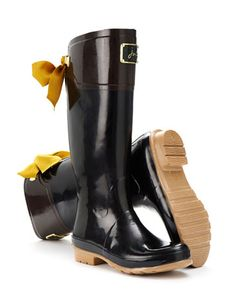 tom joule black rain boots with bows.