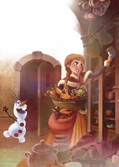 ❅ Arendelle Christmas ❅: Anna and Olaf pack for a winter picnic in Elsa's ice castle!