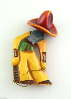 BIG Vintage 1930s Carved & Painted Bakelite ROPING COWBOY Western Brooch PIN