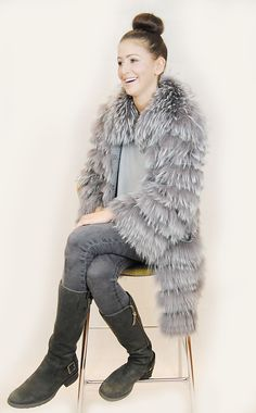 JESSIMARA GREY RACCOON FUR & WOOL COAT