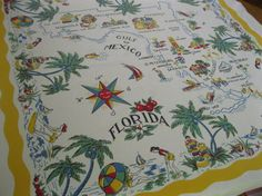 Vintage Florida tablecloth  palm trees flamingos by 3floridagirls